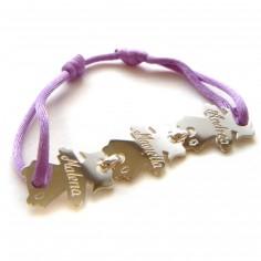 Bracelet cordon 3 enfants 15 mm (or blanc 750°)