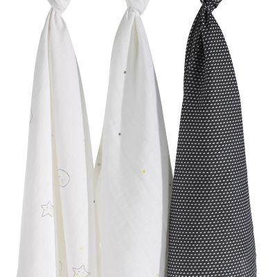 Lot de 3 langes en coton bio Babyfan (70 x 70 cm)  par Sauthon