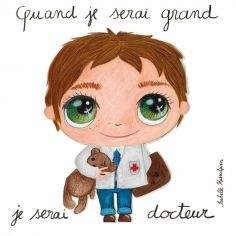 Petit tableau Quand je serai grand je serai docteur (15 x 15 cm)