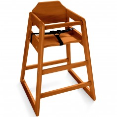 Chaise haute bois foncé avec harnais