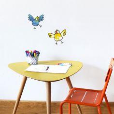 Stickers muraux 2 oiseaux jaune et bleu