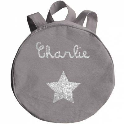 Sac à dos enfant gris ciment (personnalisable)  par Les Griottes