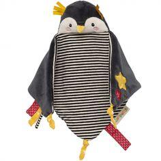 Doudou attache sucette pingouin Les Nanouks