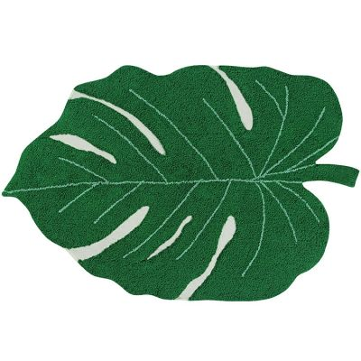 Tapis lavable Monstera Leaf vert (120 x 160 cm)  par Lorena Canals