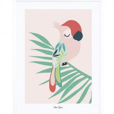 Affiche encadrée perroquet rose (30 x 40 cm)