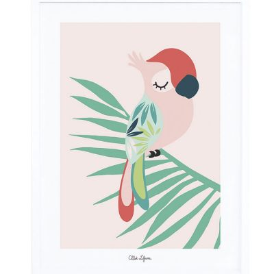 Affiche encadrée perroquet rose (30 x 40 cm) Lilipinso