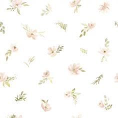 Papier peint intissé Appoline aquarelle fleurs roses orangées (10 m)