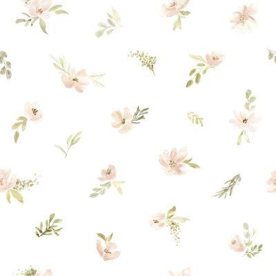 Papier peint intissé Appoline aquarelle fleurs roses orangées (10 m)  par Lilipinso