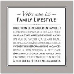 Affiche adhésive personnalisable Family Lifestyle gris galet (60 x 60 cm)