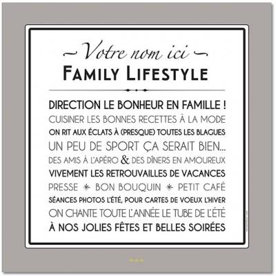 Affiche adhésive personnalisable Family Lifestyle gris galet (60 x 60 cm)  par Mes Mots Déco
