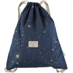 Sac à ficelles Koala coton bio Gold stella Night blue
