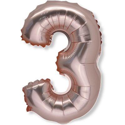 Petit ballon en mylar chiffre 3 rose gold (36 cm)  par Arty Fêtes Factory