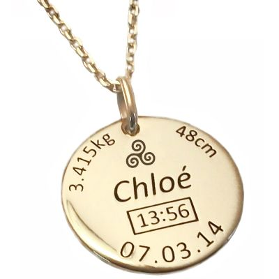 Médaille de naissance Triskell avec chaîne personnalisable (plaqué or jaune)