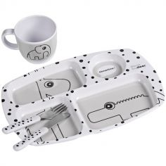 Coffret premier repas Happy Dots gris