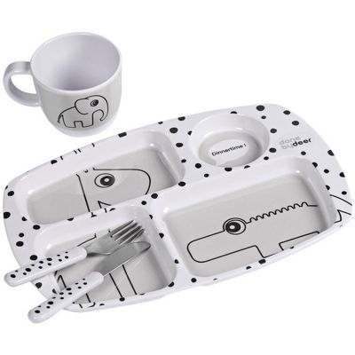 Coffret premier repas Happy Dots gris  par Done by Deer