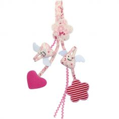 Jouet à suspendre Ange lapin Fleurs roses (20 cm)