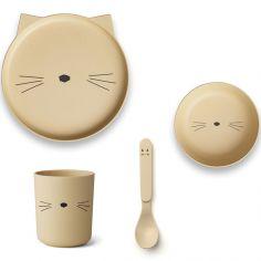 Coffret repas en bambou chat smoothie jaune (4 pièces)