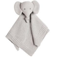 Doudou plat en tricot Tembo l'éléphant gris
