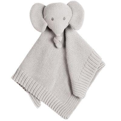 Doudou plat en tricot Tembo l'éléphant gris  par Nattou