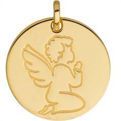 Médaille ronde Ange en prière (or jaune 750°)