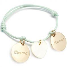 Bracelet cordon Petits Trésors médaille et coeur (plaqué or jaune et nacre)
