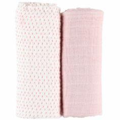 Lot de 2 draps housses coton bio roses Moris & Sacha (70 x 140 cm)