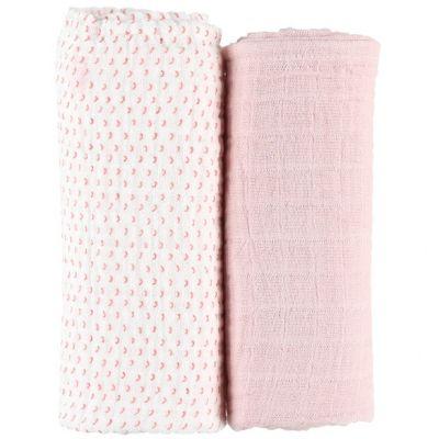 Lot de 2 draps housses coton bio roses Moris & Sacha (70 x 140 cm)  par Noukie's