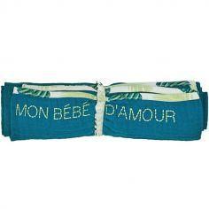 Lange en coton Mon bébé d'amour bleu paon Jungle baby (70 x 70 cm)
