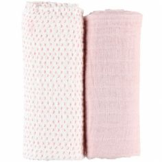 Lot de 2 maxi langes roses Mix & match (100 x 100 cm)