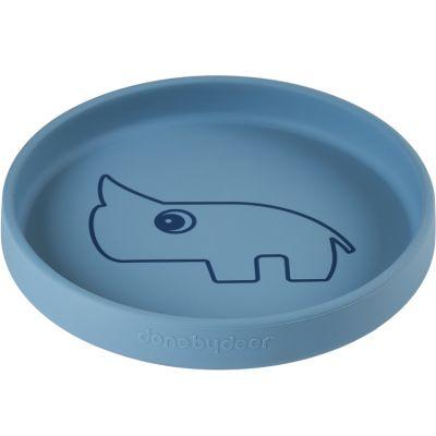 Assiette en silicone bleue Nozo le rhinocéros  par Done by Deer