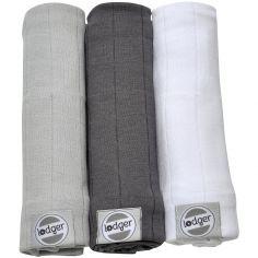 Lot de 3 langes blanc, gris clair et anthracite (70 x 70 cm)