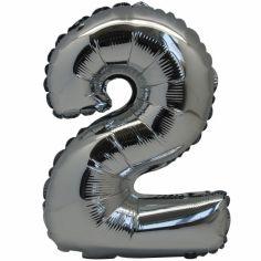 Petit ballon en mylar chiffre 2 argenté (36 cm)