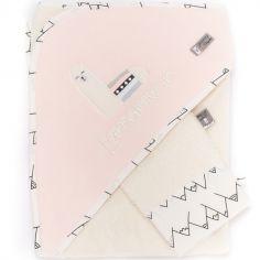 Cape de bain + gant rose Lamamour (75 x 80 cm)