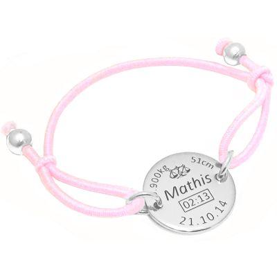 Bracelet cordon rose médaille de naissance (argent 925° rhodié)  par Alomi