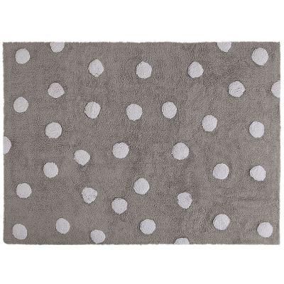 Tapis lavable gris à pois blanc (120 x 160 cm)  par Lorena Canals