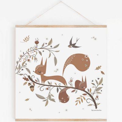 Affiche carrée Écureuil avec support (29,7 x 29,7 cm)  par Lutin Petit Pois