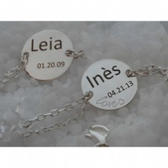 Bracelet Love empreinte gourmette double chaîne 14 cm (argent 925°)