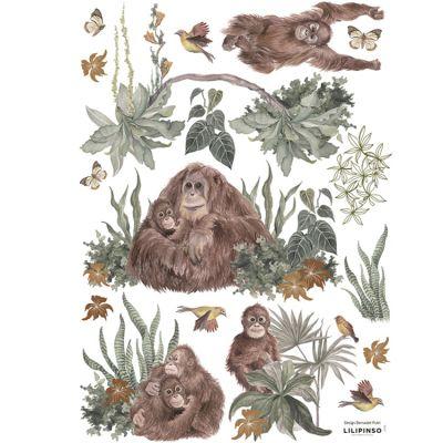 Planche de stickers A3 Famille d'Orang Outan