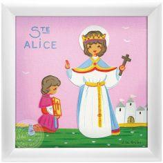Tableau religieux Ste Alice Saint Patron personnalisable (15 x 15 cm)