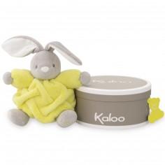 Coffret doudou boule Néon lapin jaune (18 cm)