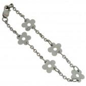 Bracelet Les Evolutifs 13,5 cm 5 petites marguerites 9 mm (or blanc 750°) - Loupidou