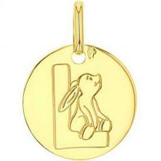 Médaille L comme lapin personnalisable (or jaune 750°)