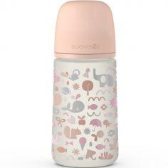 Biberon avec tétine symétrique SX PRO M Mémories rose corail (270 ml)