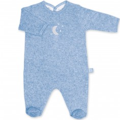 Pyjama léger terry Bmini bleue à points jerry (6-12 mois : 67 à 74 cm)
