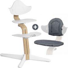 PACK Chaise haute évolutive NOMI chêne clair blanc + coussin réversible gris et sable  par NOMI