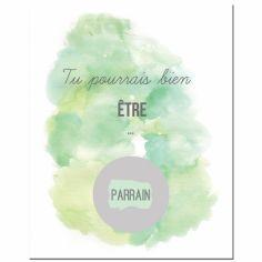 Carte à gratter Demande spéciale Aquarelle Parrain (8 x 10 cm)