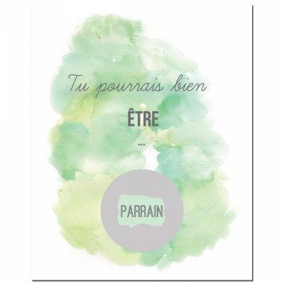 Carte à gratter Demande spéciale Aquarelle Parrain (8 x 10 cm)  par Les Boudeurs