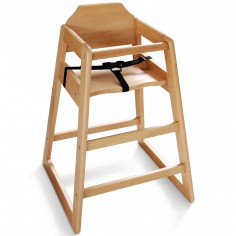 Chaise haute bois clair avec harnais