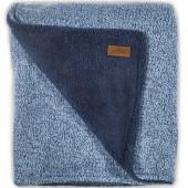 Grande couverture 4 saisons tricot Stonewashed bleu marine (100 x 150 cm) - Jollein