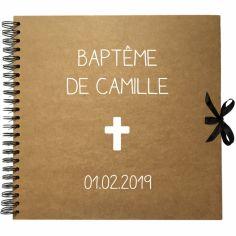 Album photo baptême personnalisable kraft et blanc (30 x 30 cm)